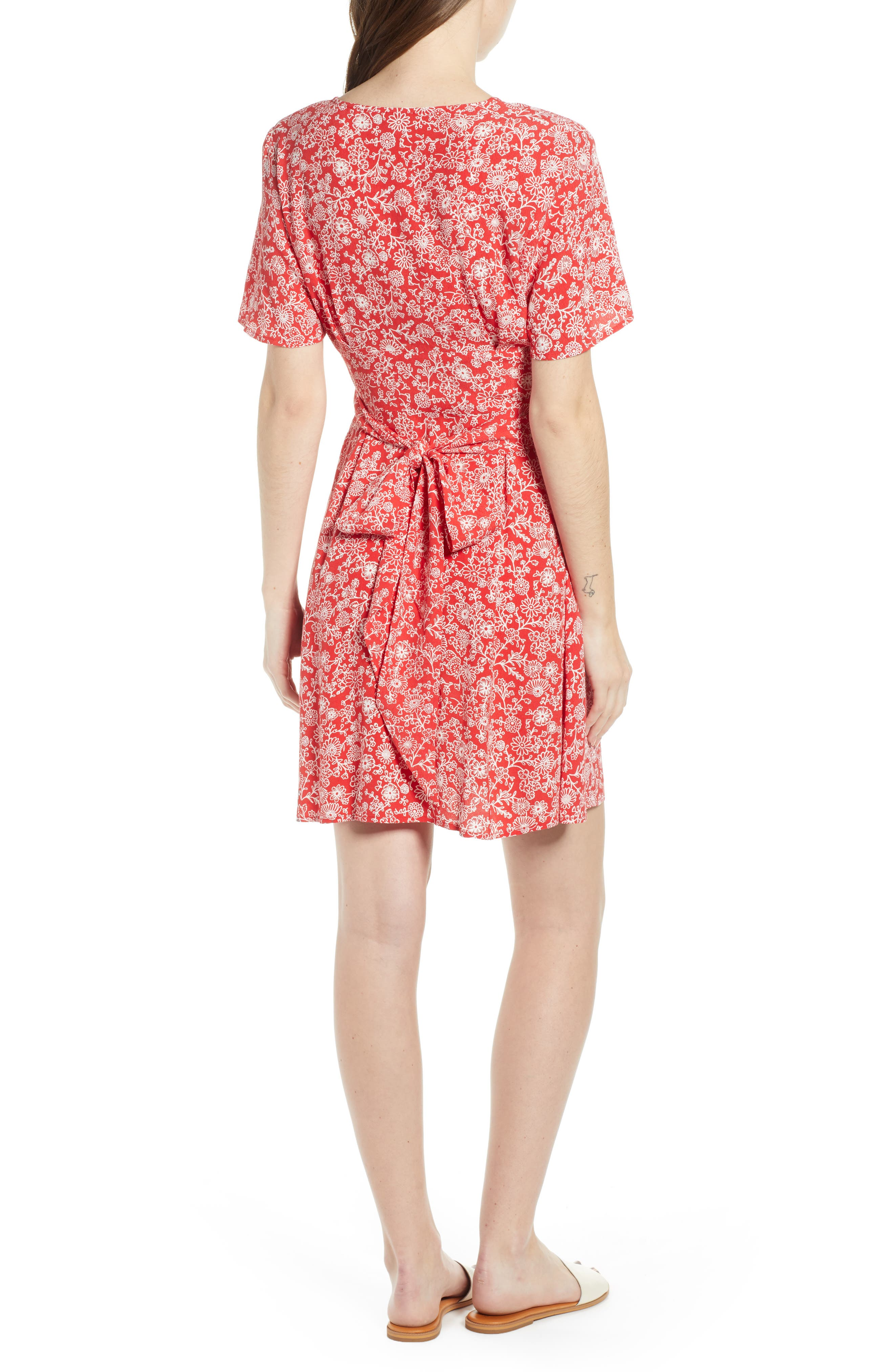 ,                             Floral Front Button Minidress,                             Alternate thumbnail 2, color,                             RED BLOOM VINED DAISIES