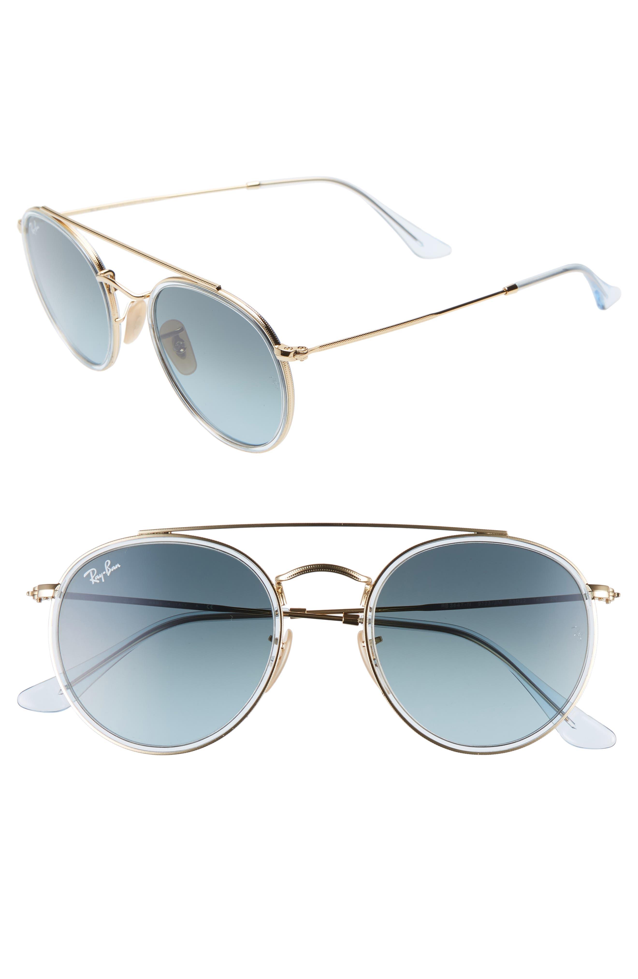 Ray-Ban 51Mm Aviator Gradient Lens Sunglasses - Gold/ Blue Gradient