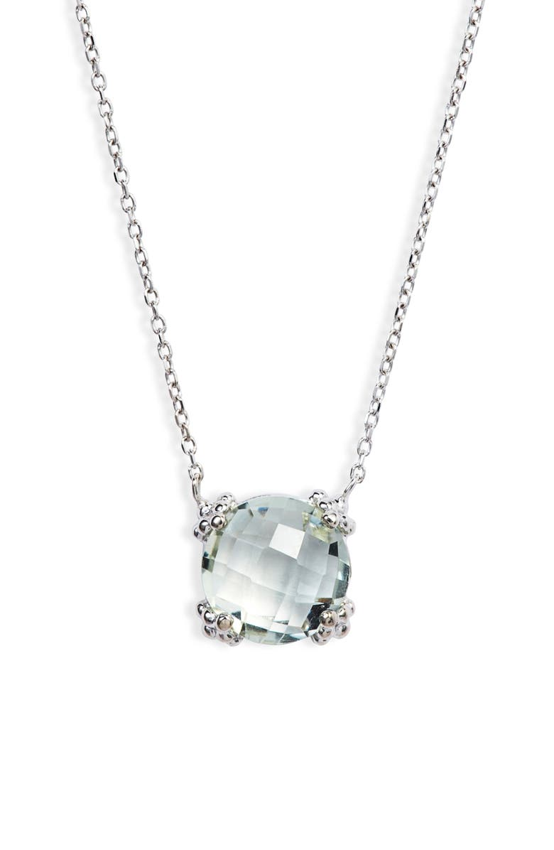 ANZIE Dew Drop Cluster Topaz Pendant Necklace, Main, color, GREEN AMETHYST