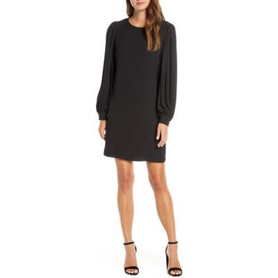 Forest Lily Long Sleeve Chiffon Shift Dress, Black