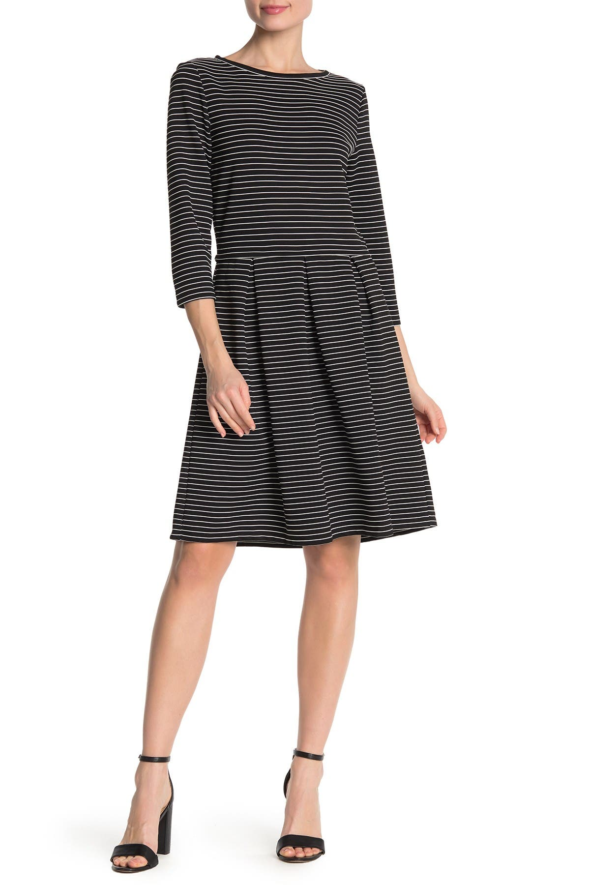 Image of Max Studio Striped 3/4 Sleeve Flared Dress