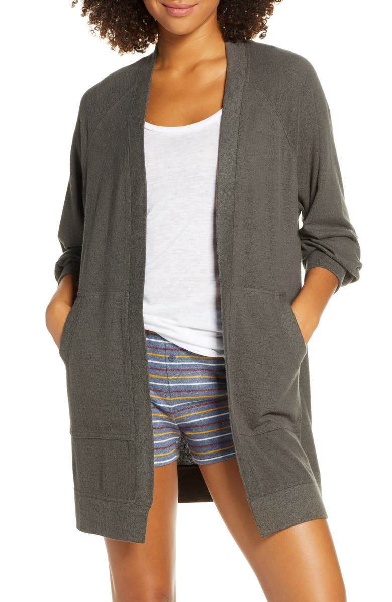 BP. Warm Me Up Cozy Open Cardigan, Main, color, GREY BELUGA