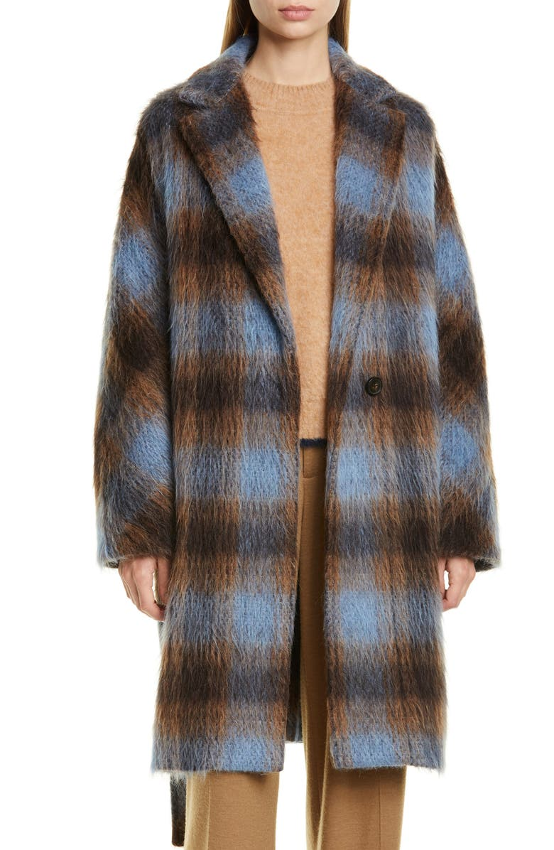 VINCE Plaid Belted Wool & Alpaca Blend Coat, Main, color, AZURITE PLAID