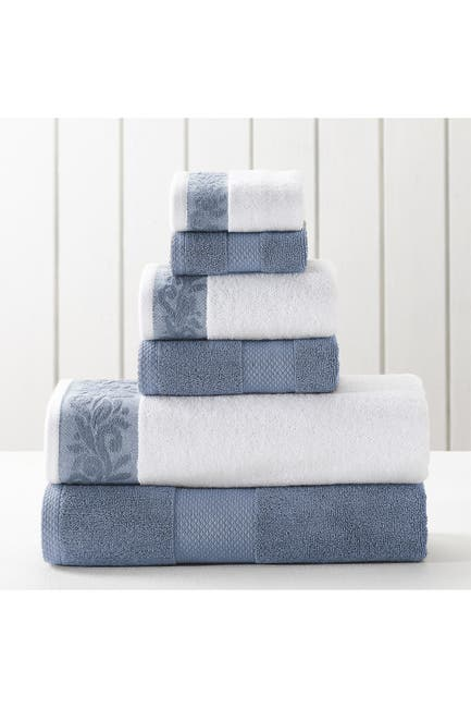 Image of Modern Threads Filgree Jacquard Border Towel 6-Piece Set - Smoke