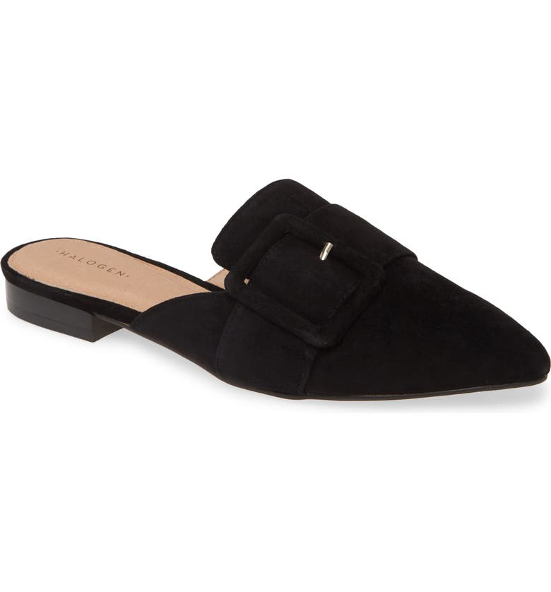 HALOGEN<SUP>®</SUP> Elyssa Buckle Mule, Main, color, BLACK SUEDE