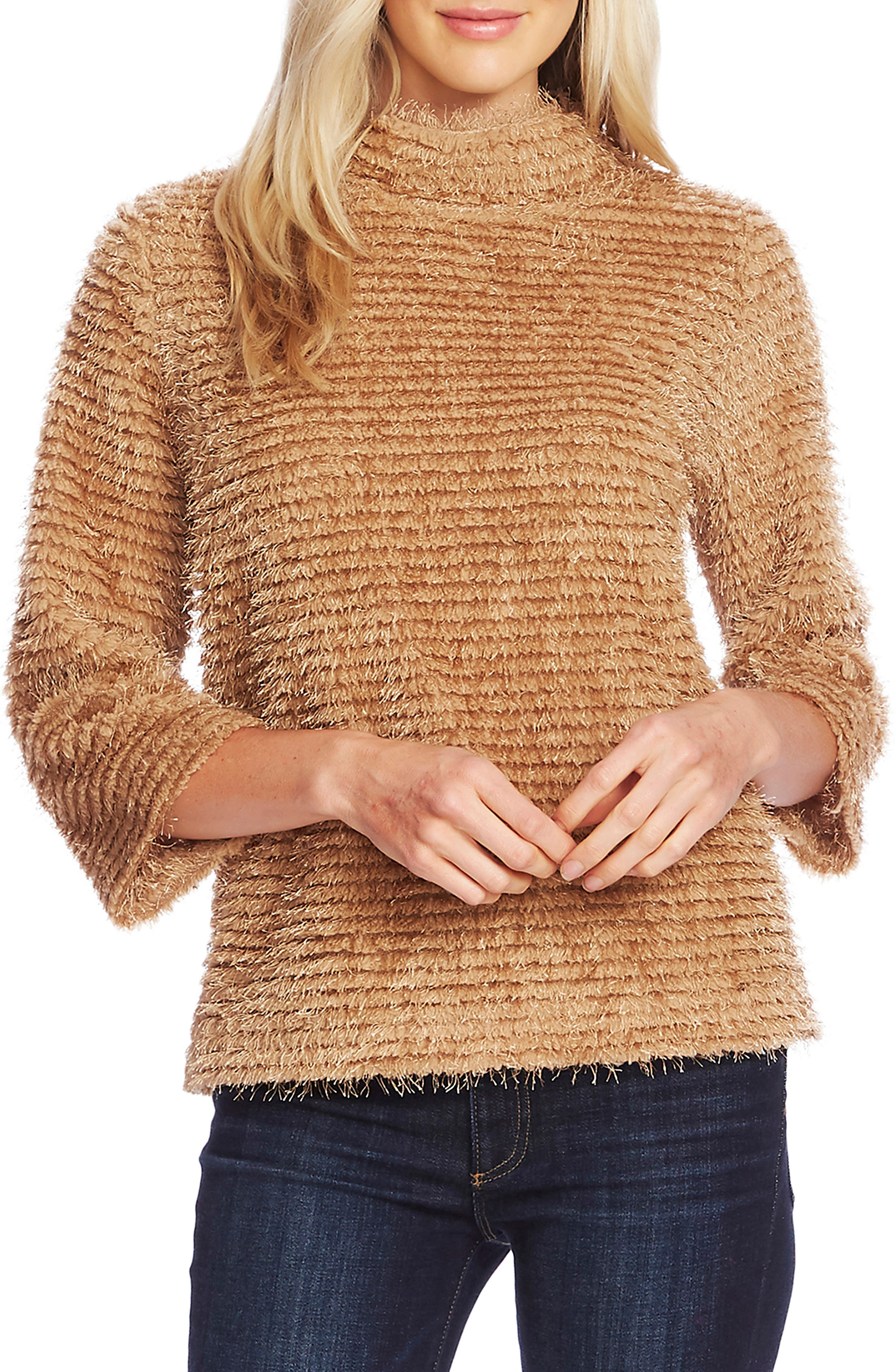 Vince Camuto Eyelash Fringe Stripe Sweater