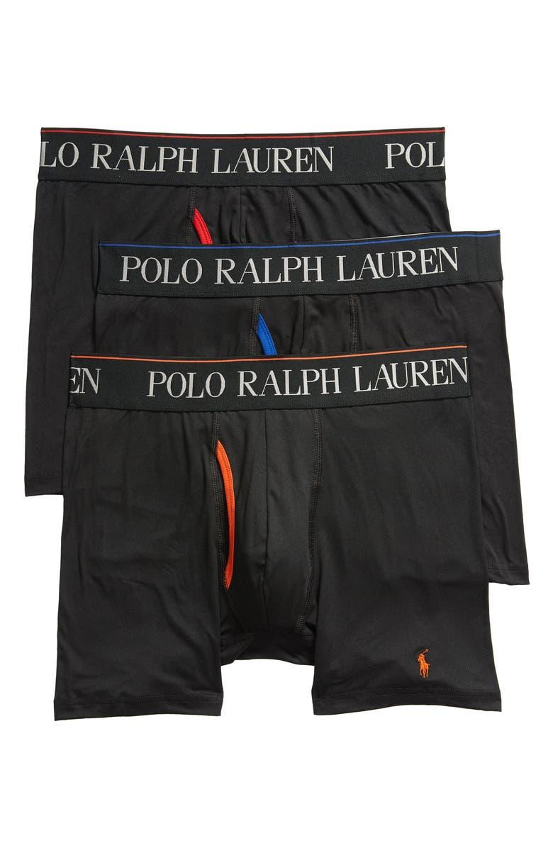 POLO RALPH LAUREN 4D 3-Pack Boxer Briefs, Main, color, BLACK