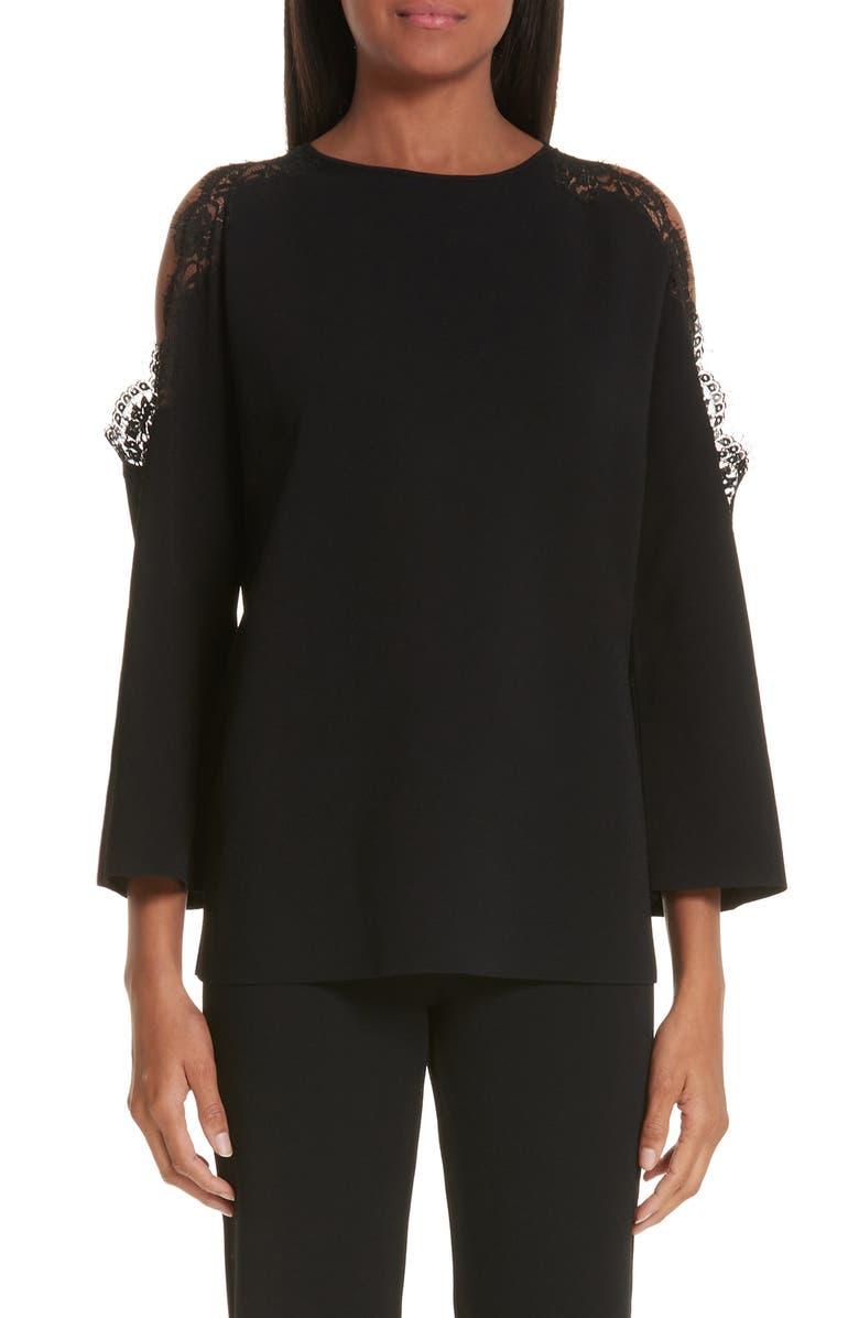 STELLA MCCARTNEY Lace Trim Cold Shoulder Sweater, Main, color, 001
