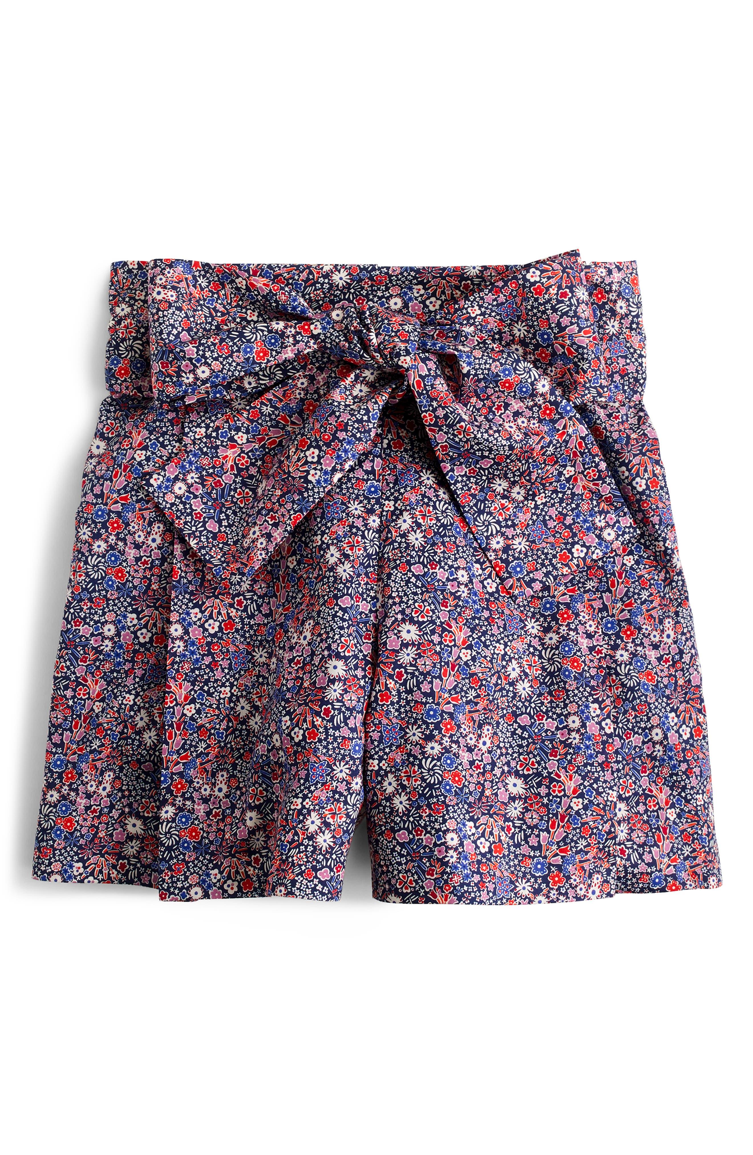 ,                             Liberty<sup>®</sup> Tana Lawn Tie Waist Shorts,                             Alternate thumbnail 5, color,                             DEEP BLUE MULTI