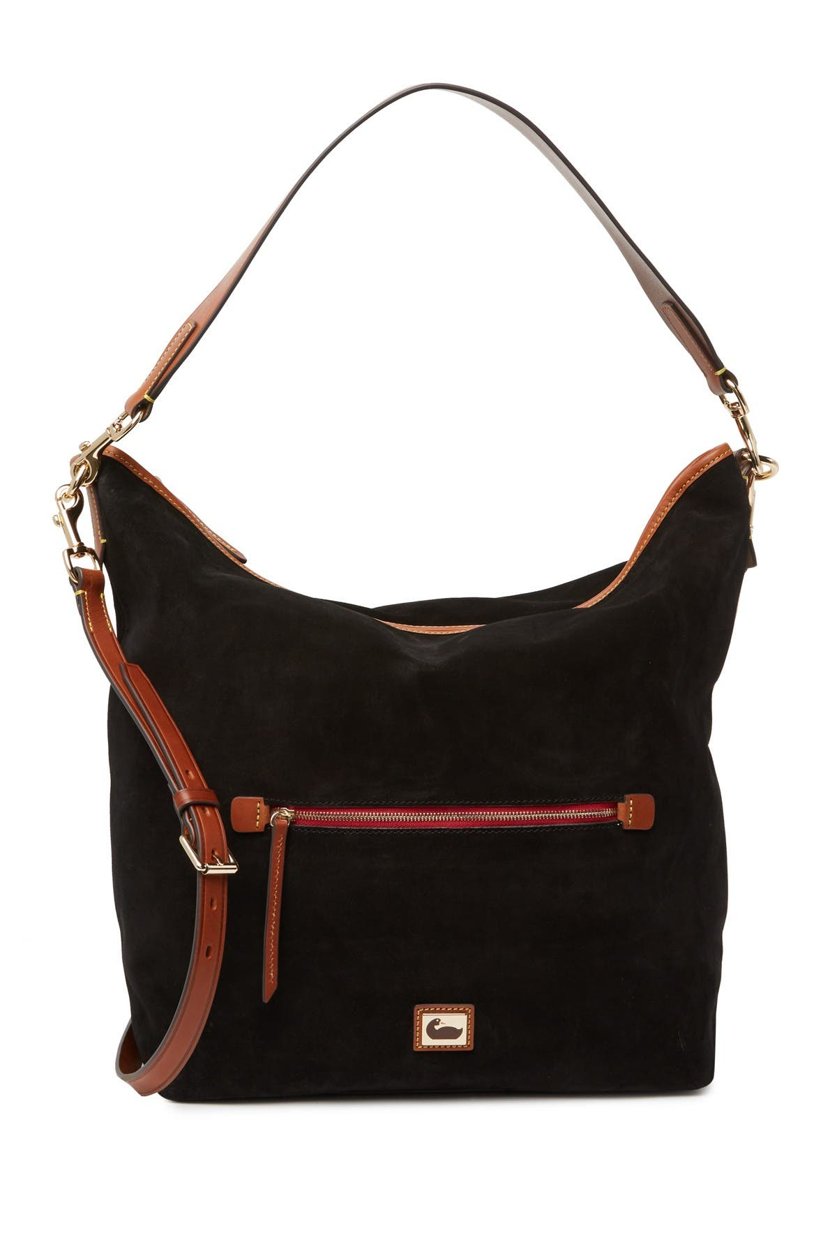 Image of Dooney & Bourke Large Suede Hobo Crossbody Bag
