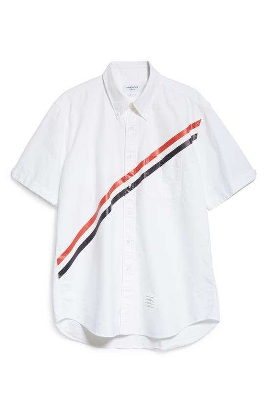 Thom Browne Clothing DIAGONAL STRIPE STRAIGHT FIT BUTTON-DOWN SHIRT