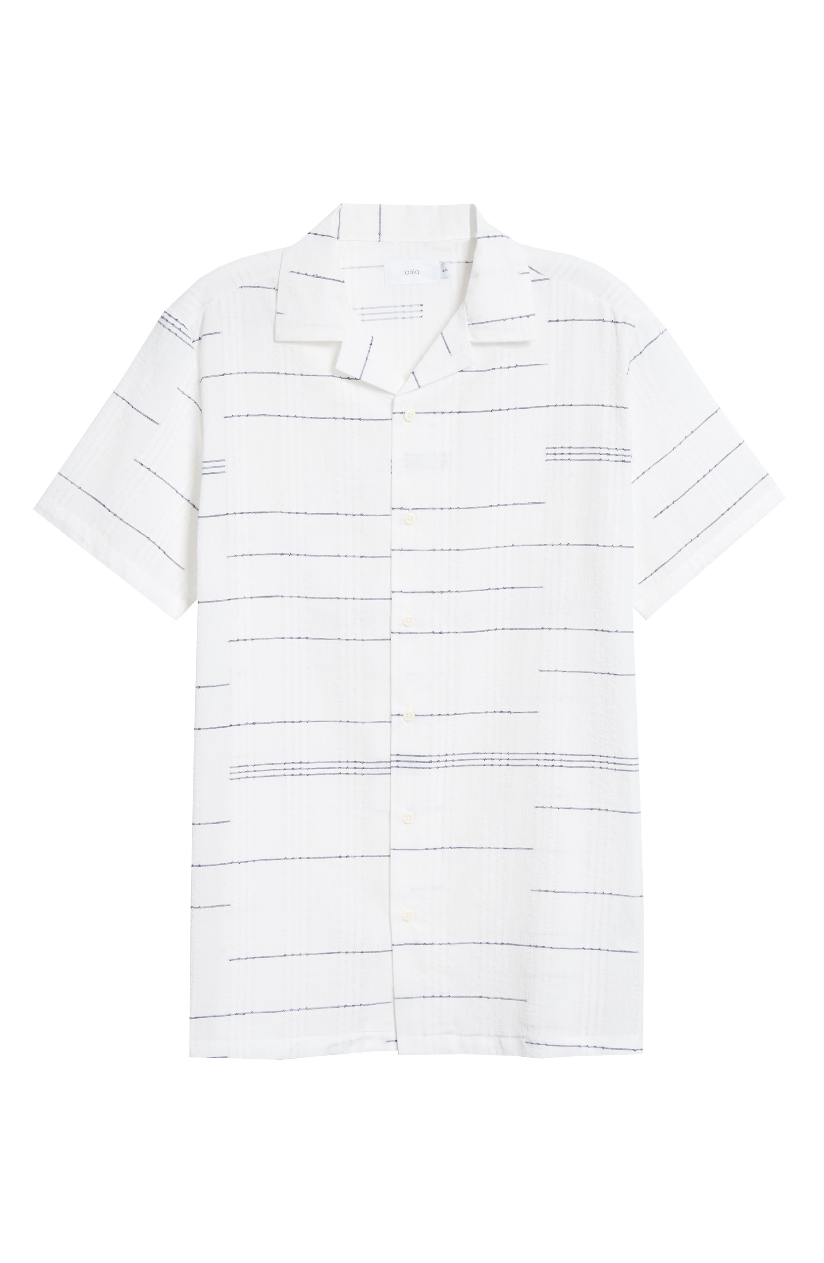,                             Embroidered Stripe Woven Shirt,                             Alternate thumbnail 6, color,                             WHITE