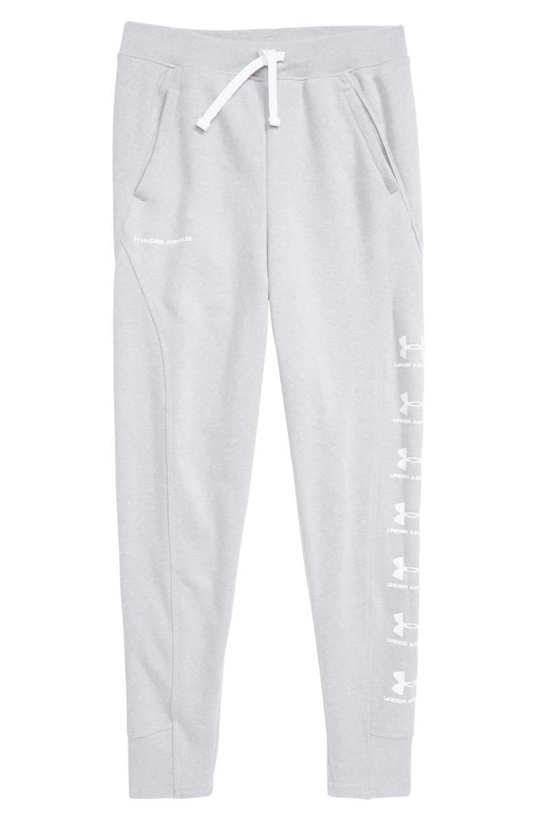 UNDER ARMOUR Rival ColdGear<sup>®</sup> Jogger Pants, Main, color, MOD GRAY LIGHT HEATHER/ WHITE