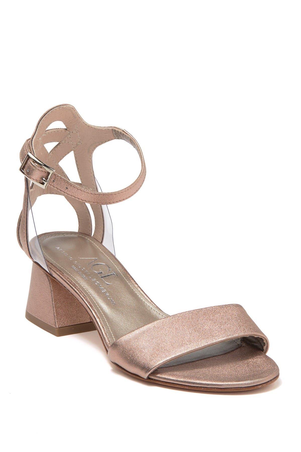 Image of AGL Metallic Leather Block Heel Sandal