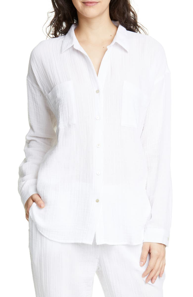 EILEEN FISHER Crinkled Cotton Button Up Blouse, Main, color, WHITE