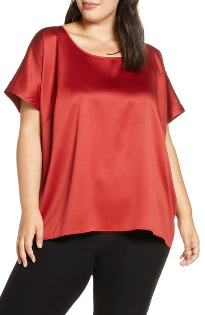 Eileen Fisher Shorts BOXY SHORT SLEEVE SATIN TOP