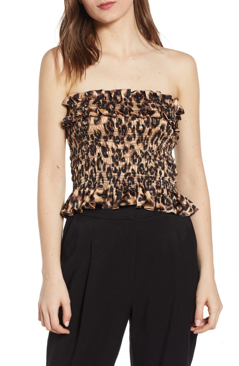 J.O.A. Leopard Print Smock Detail Tube Top, Main, color, 001