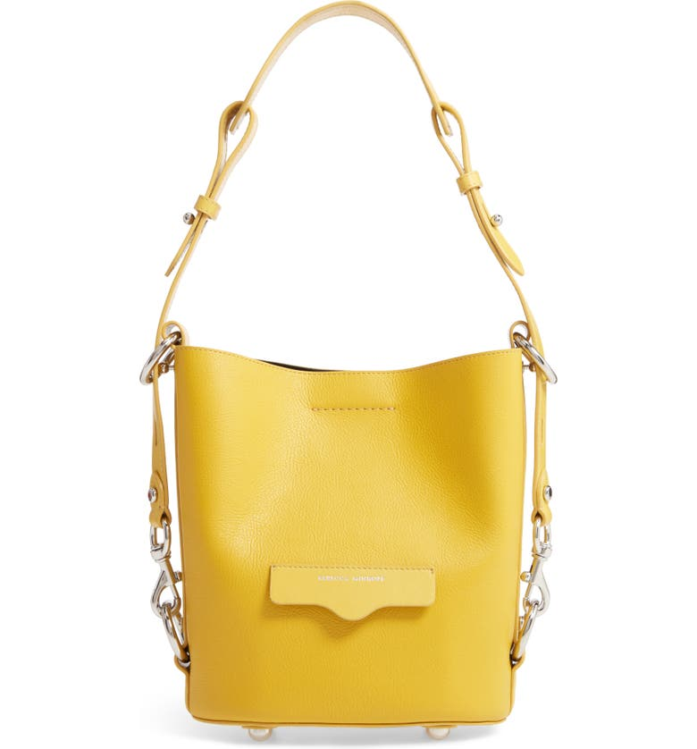 REBECCA MINKOFF Small Utility Convertible Leather Bucket Bag, Main, color, SUNFLOWER