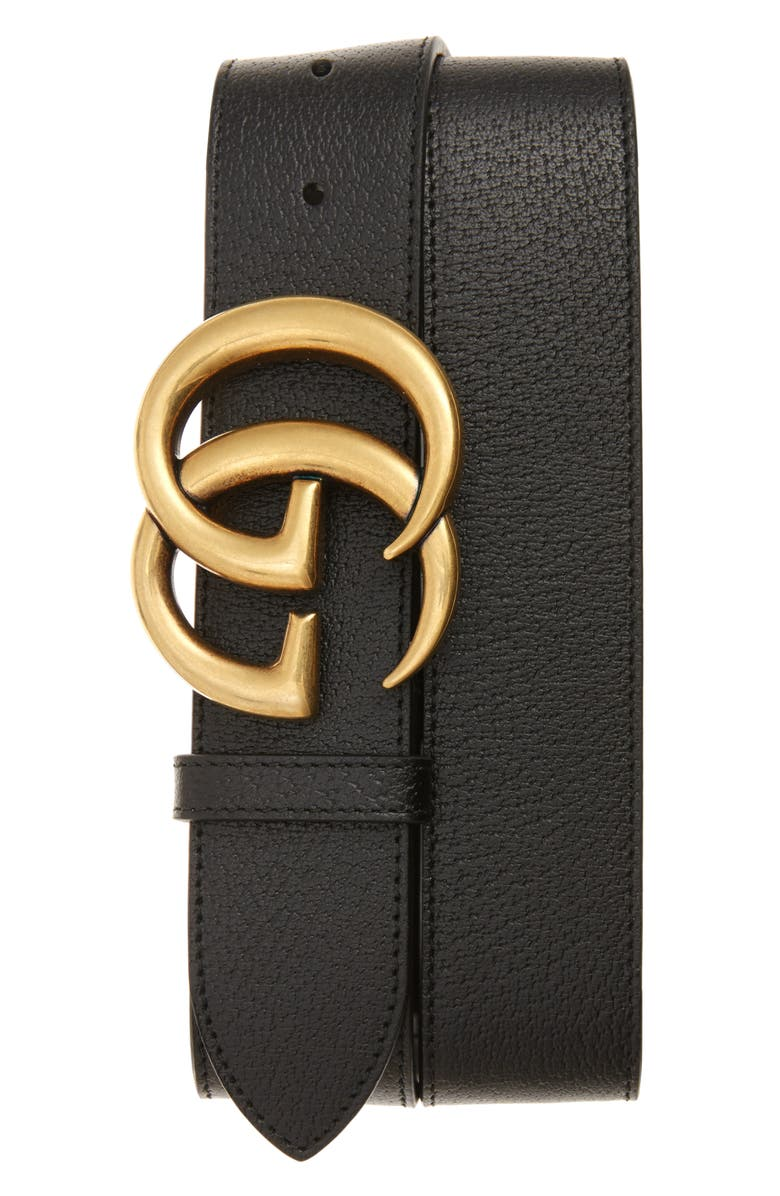 GUCCI Marmont Logo Leather Belt, Main, color, BLACK