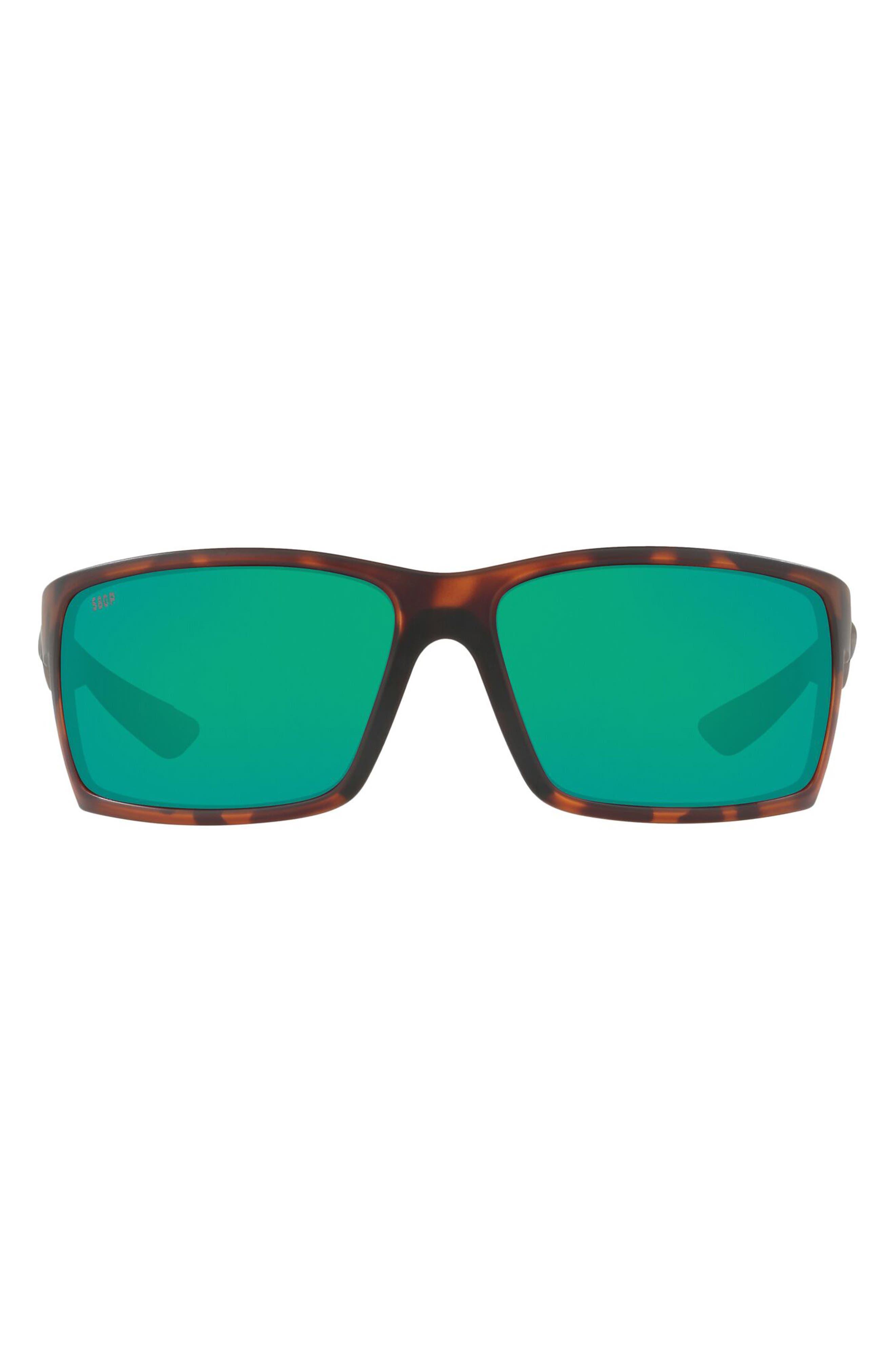 64mm Mirrored Polarized Rectangular Sunglasses