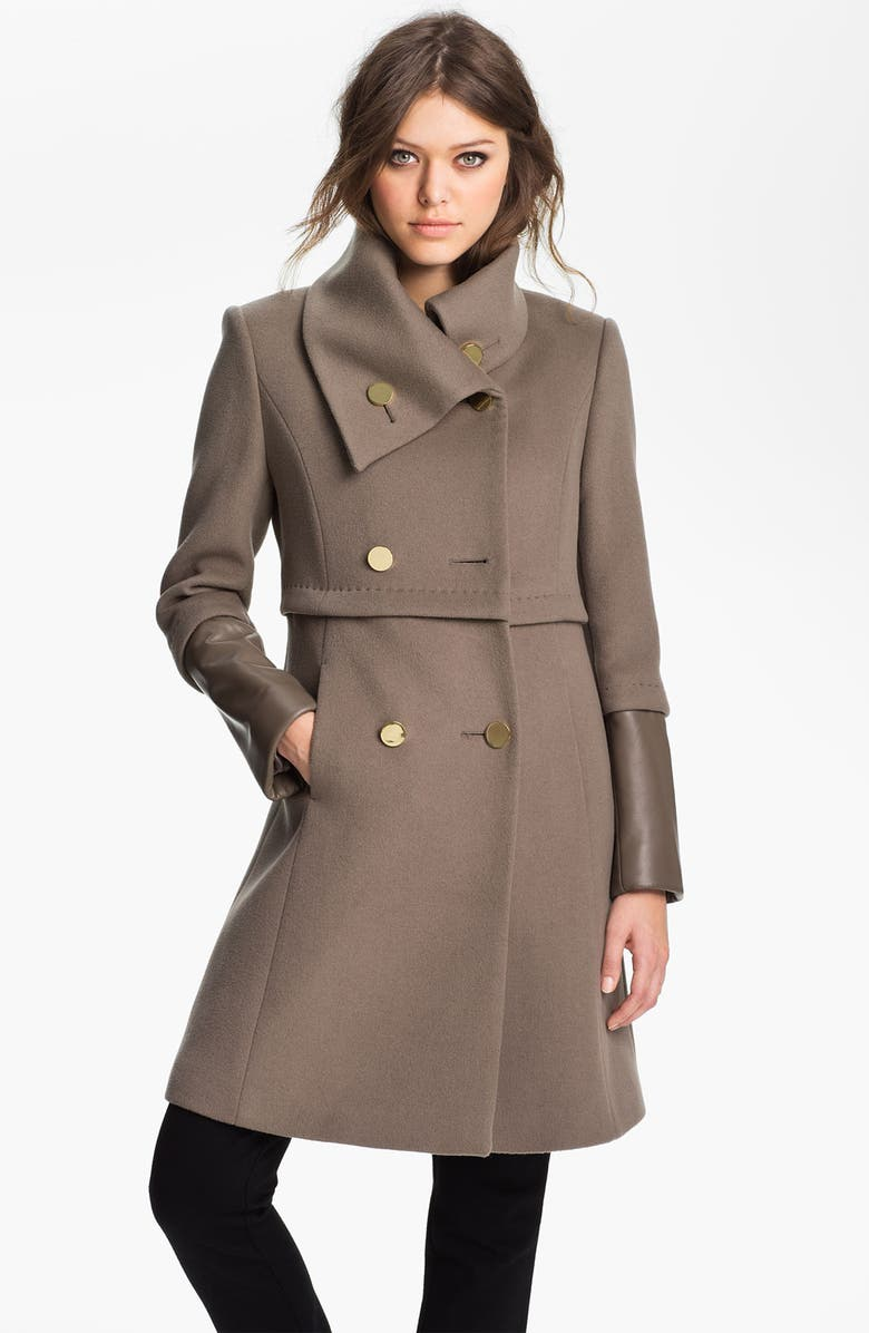 ELIE TAHARI Leather Trim Wool Coat, Main, color, 250