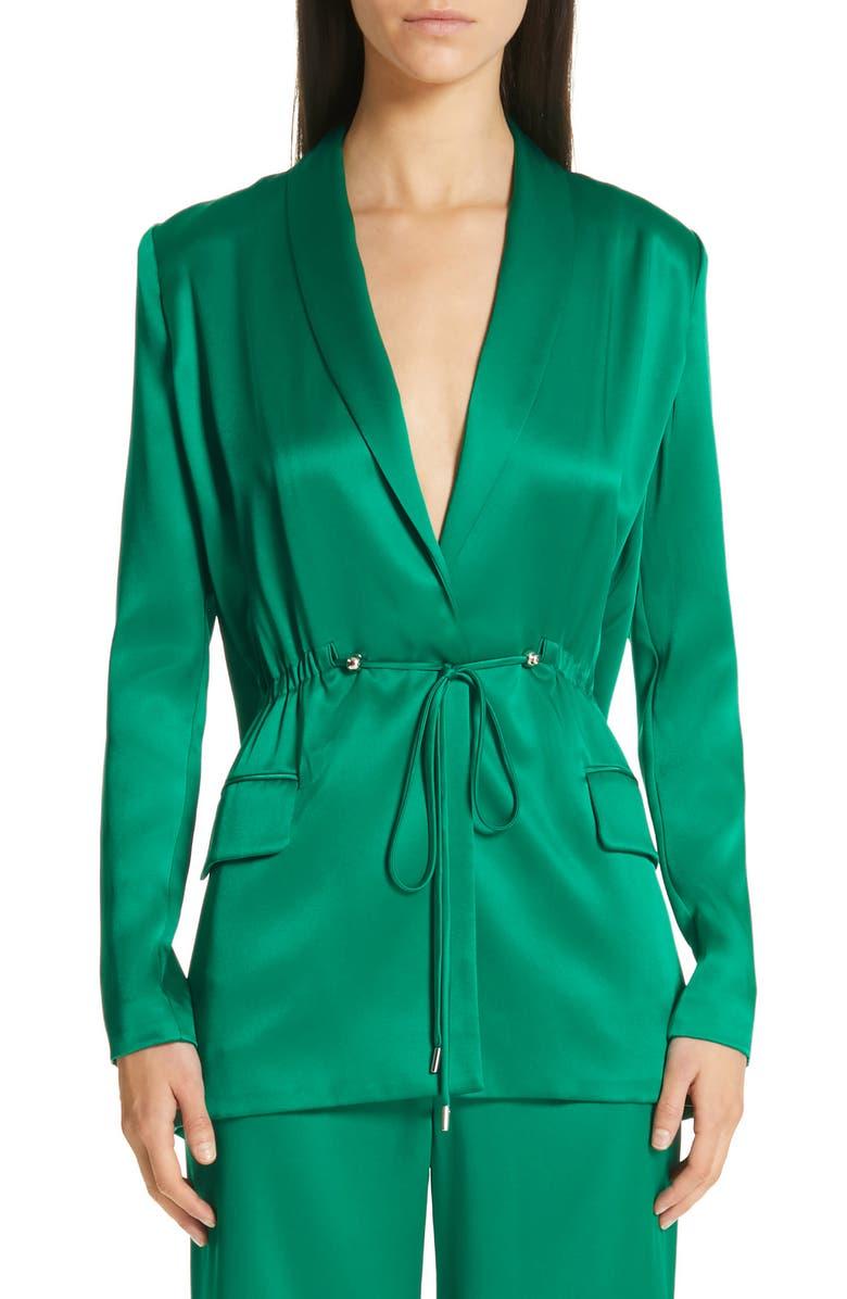 CUSHNIE Open Back Silk Charmeuse Jacket, Main, color, 313