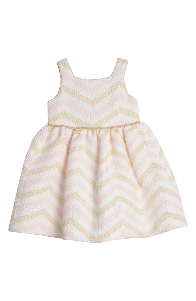 PIPPA & JULIE Metallic Chevron Fit & Flare Dress, Main, color, PINK/ GOLD