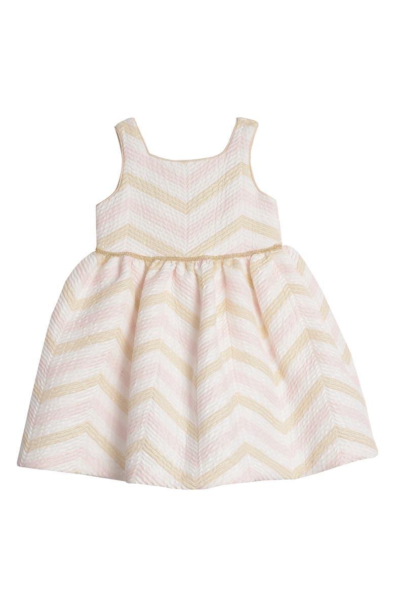 PIPPA & JULIE Metallic Chevron Brocade Dress, Main, color, PINK/ GOLD