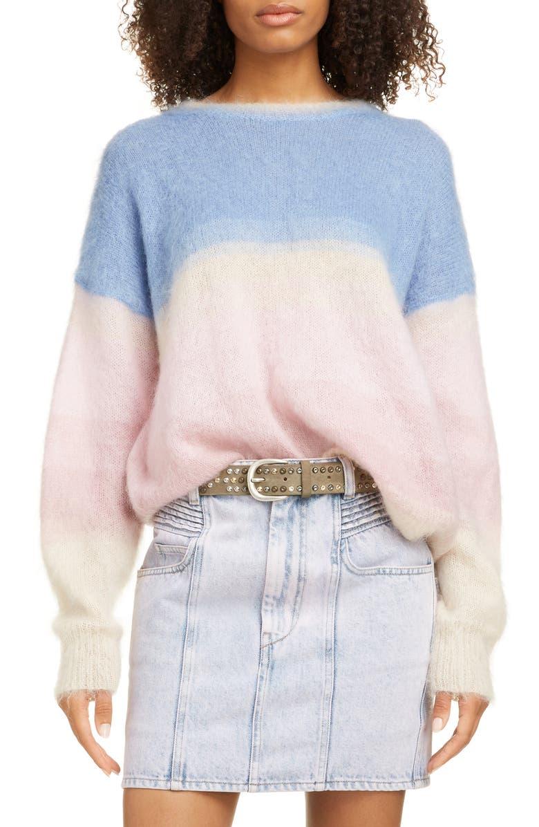 ISABEL MARANT ÉTOILE Drussell Colorblock Mohair Blend Sweater, Main, color, BLUE