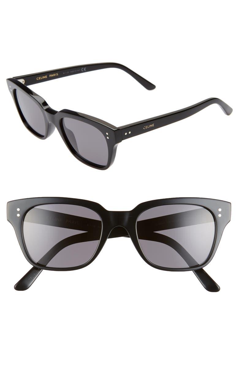 CELINE 51mm Polarized Rectangle Sunglasses, Main, color, SHINY BLACK