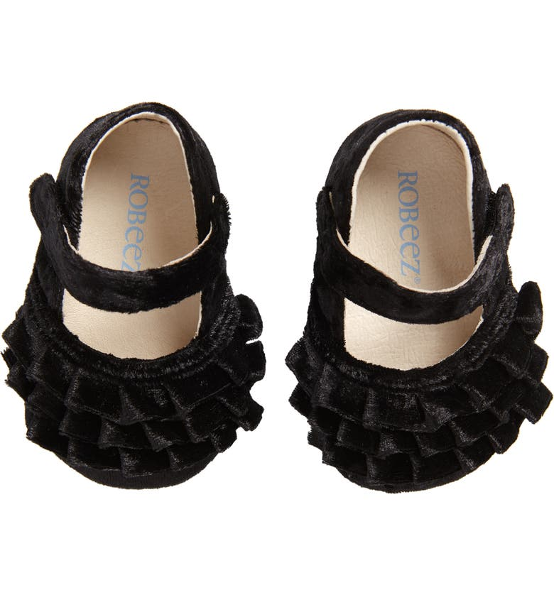 ROBEEZ<SUP>®</SUP> Kate Red Mary Jane Crib Shoe, Main, color, BLACK