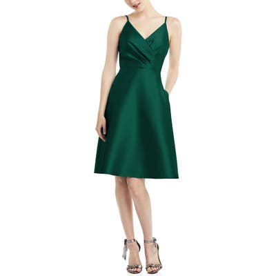 Alfred Sung Fit & Flare Satin Twill Cocktail Dress, Green