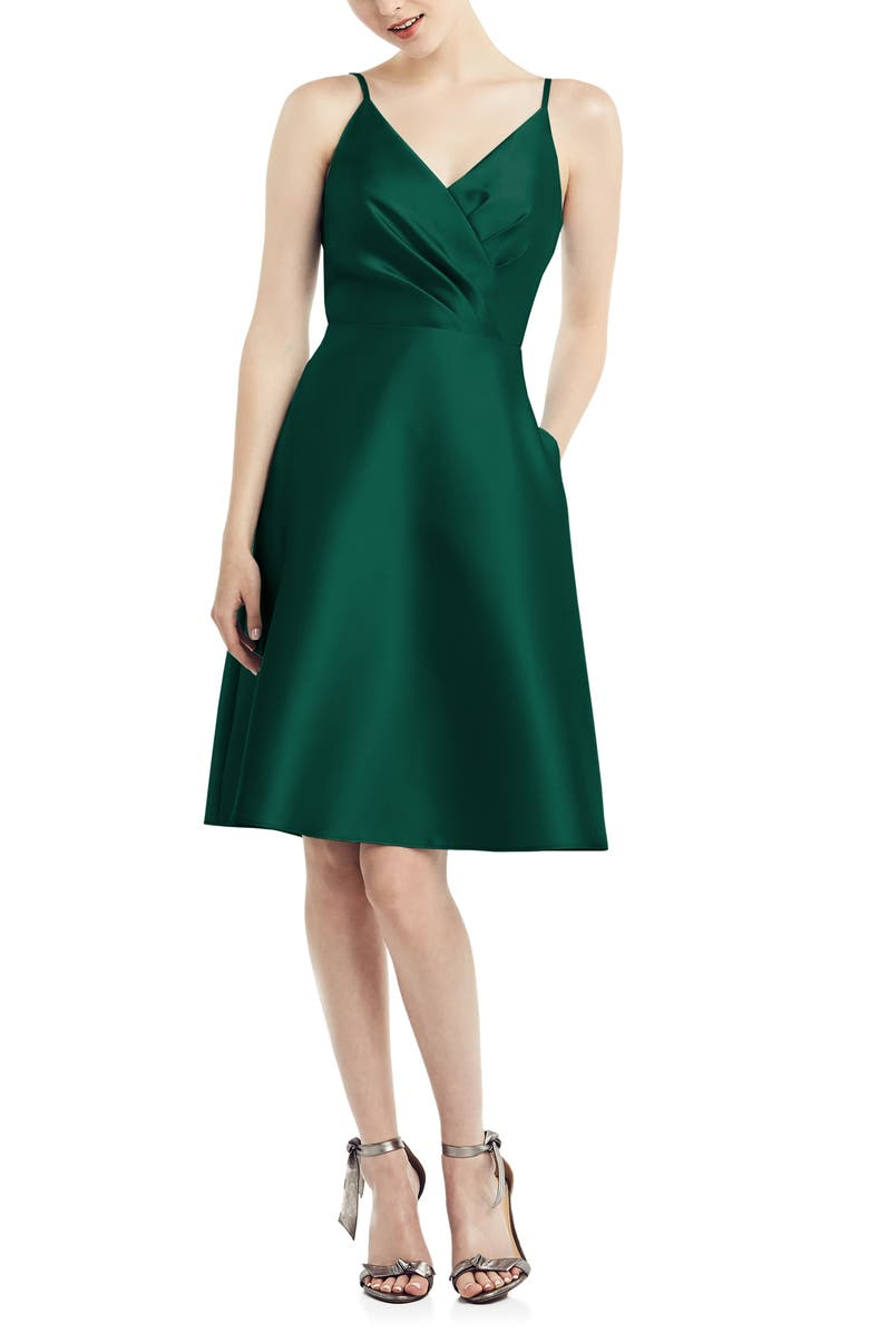 ALFRED SUNG Fit & Flare Satin Twill Cocktail Dress, Main, color, HUNTER