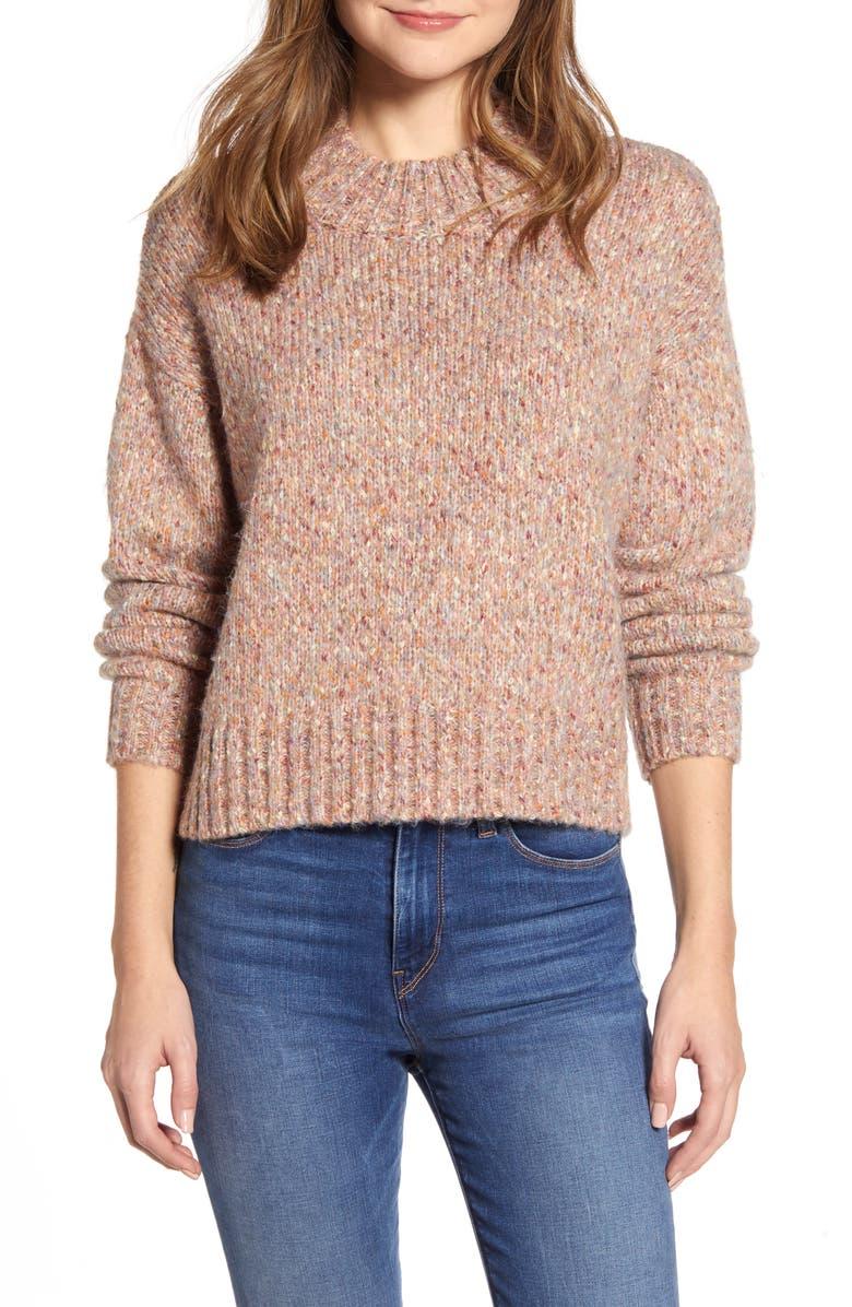 RD STYLE Marled Mock Neck Sweater, Main, color, PINK MARBLE MELANGE
