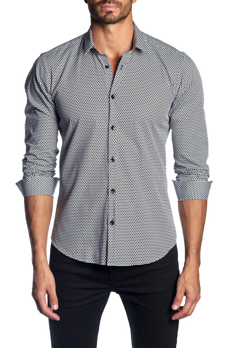 JARED LANG Slim Fit Dot Shirt, Main, color, WHITE BLACK POLKA DOTS