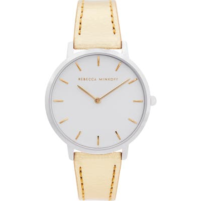 Rebecca Minkoff Major Metallic Leather Strap Watch, 35Mm