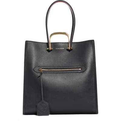 Alexander Mcqueen The Tall Story Leather Tote - Black