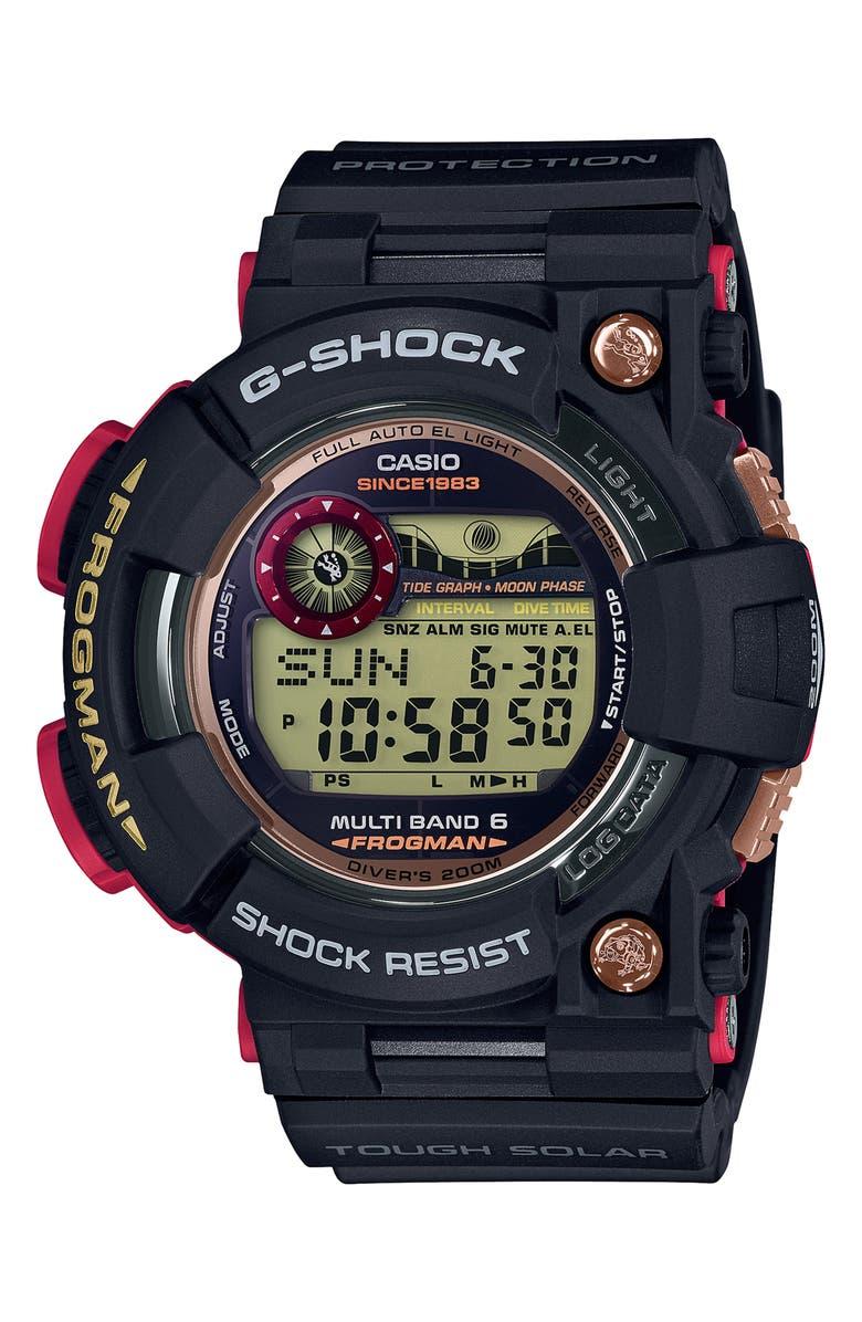 G-SHOCK BABY-G G-Shock Frogman Digital Strap Watch, Main, color, BLACK