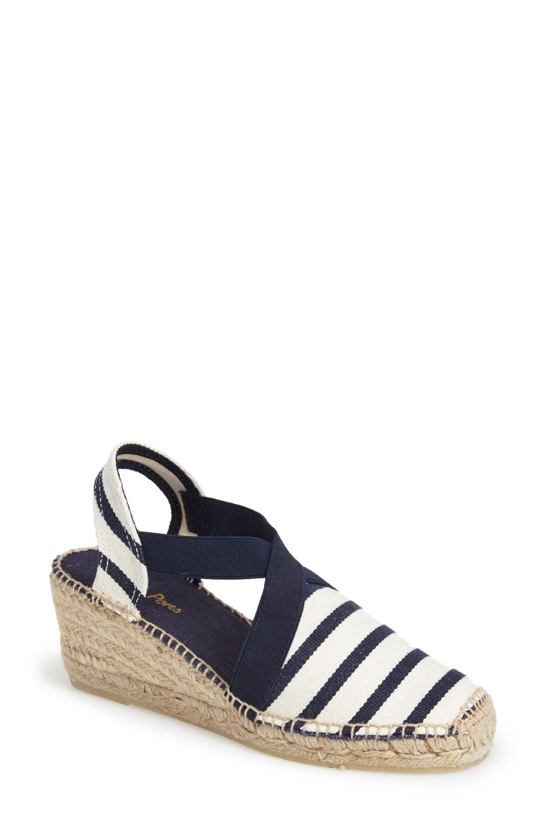 A slingback strap and bold espadrille heel heighten the earthy sophistication of a canvas sandal styled with crisp stripes. Style Name: Toni Pons \\\'Tarbes\\\' Espadrille Wedge Sandal (Women). Style Number: 1056900. Available in stores.