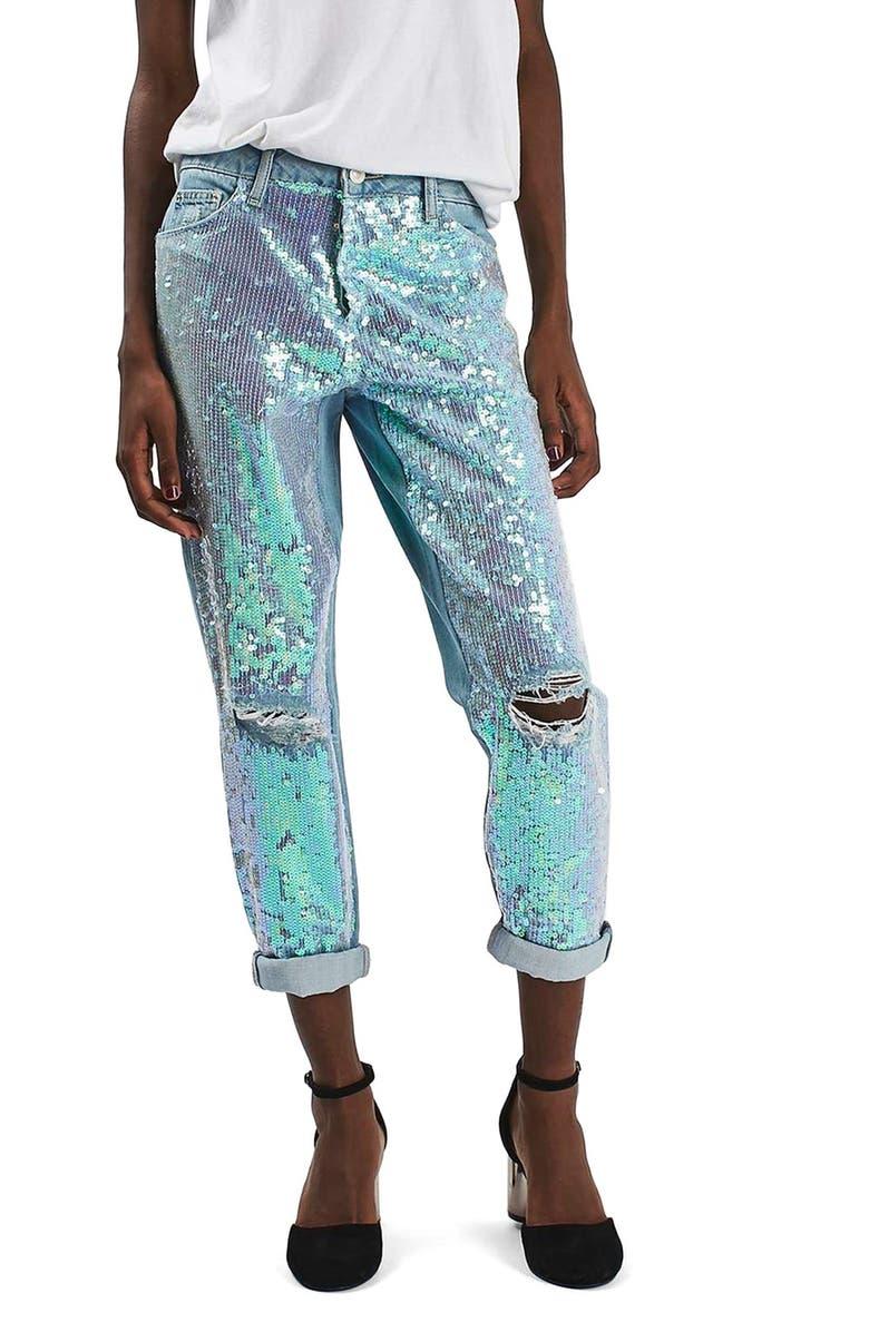 TOPSHOP Sequin Destroyed Boyfriend Jeans, Main, color, 450