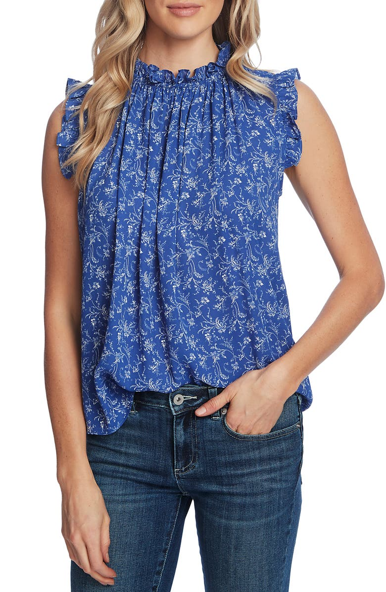 CECE Floral High Neck Ruffle Sleeveless Blouse, Main, color, MOONLIT