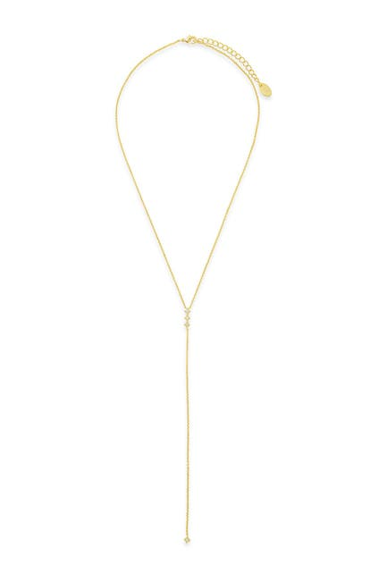 Image of Sterling Forever 14K Gold Plated Brass Dainty Opal Y Drop Necklace