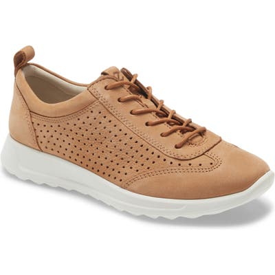 Ecco Flexure Perforated Sneaker, Brown