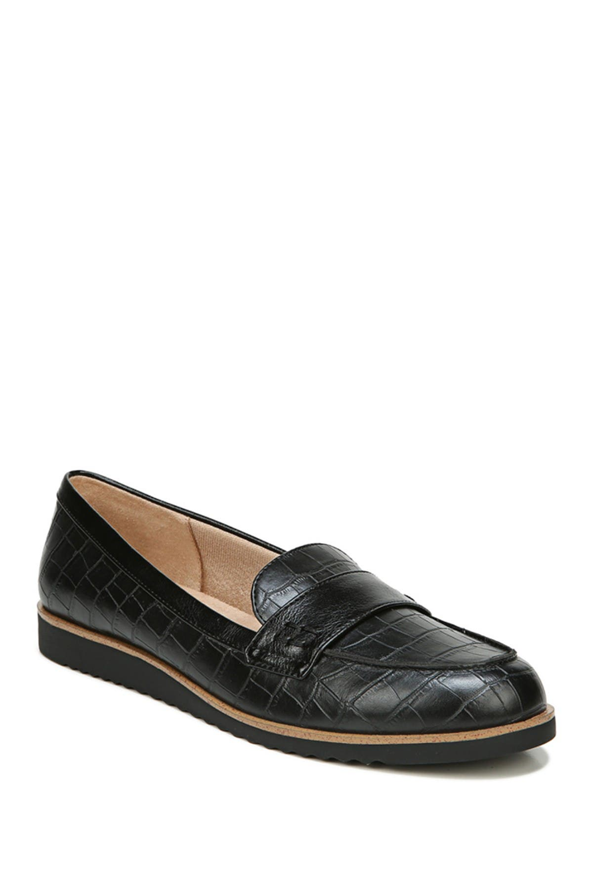 Image of LifeStride Zee Croc Embossed Leather Loafer - Wide Width Available