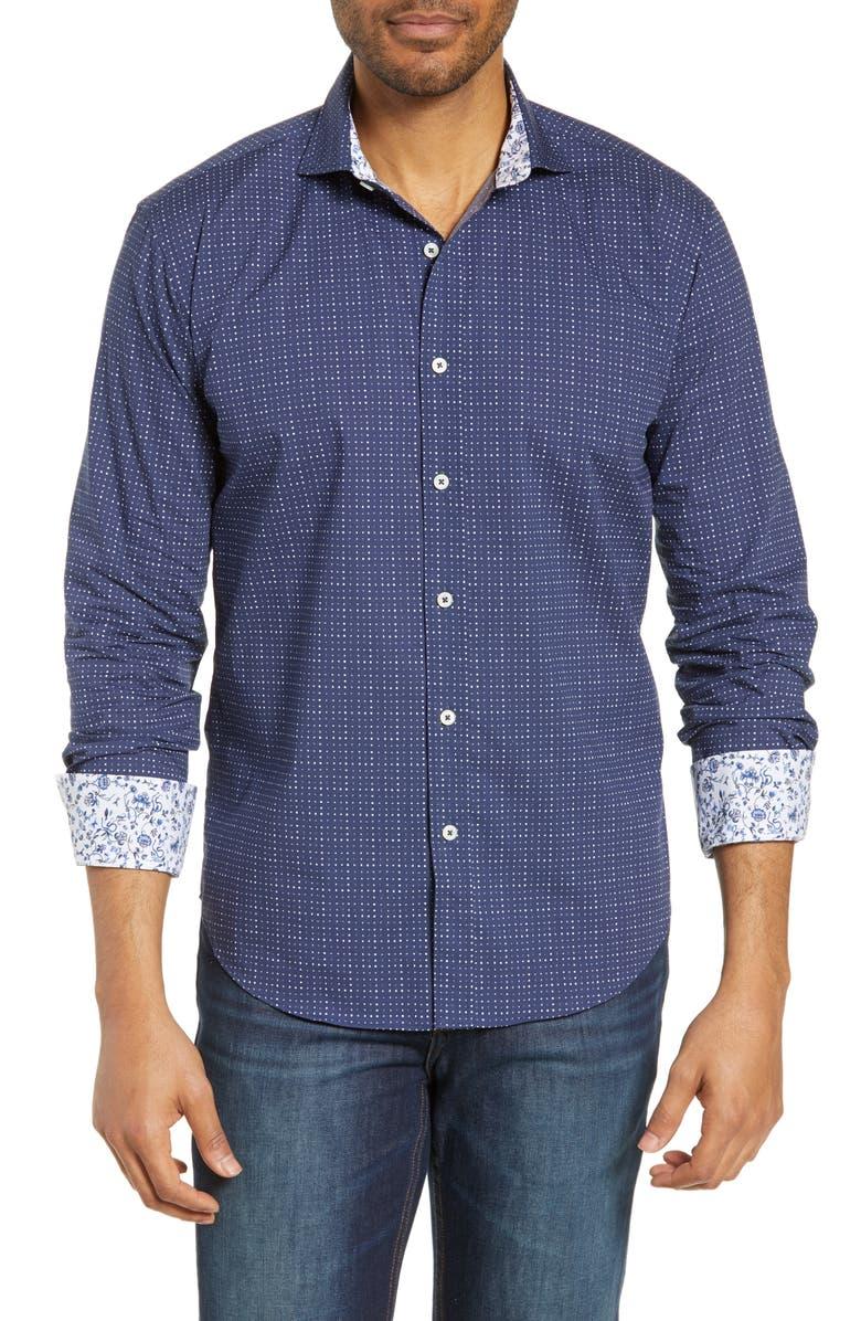 BUGATCHI Shaped Fit Dot Cotton Shirt, Main, color, MIDNIGHT