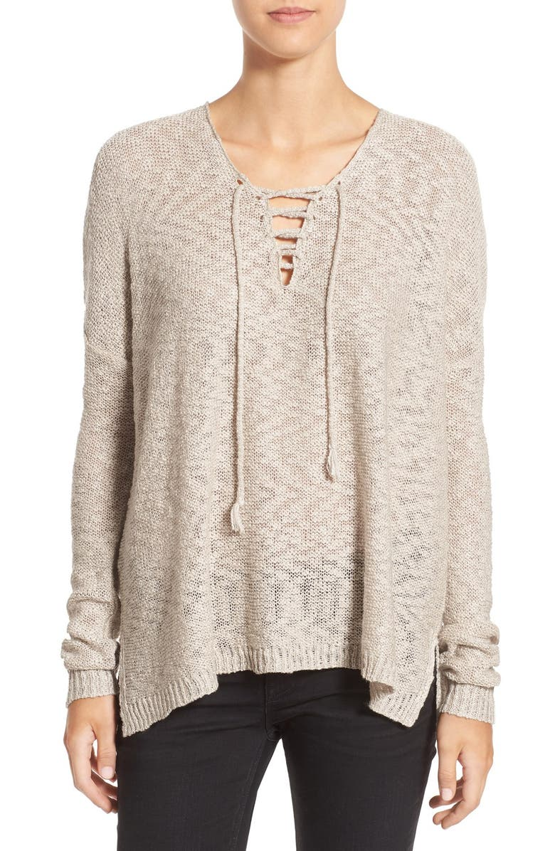 LOVE BY DESIGN Lace-Up Pullover, Main, color, 250