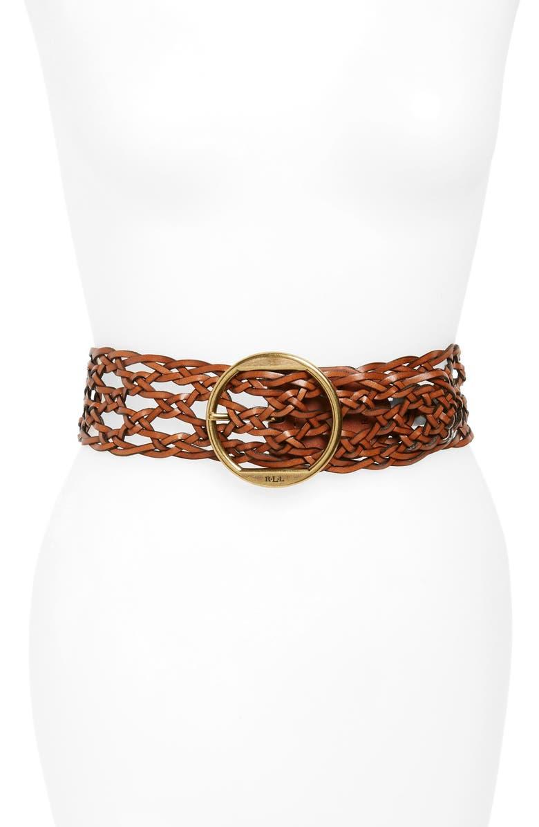 LAUREN RALPH LAUREN Braided Leather Belt, Main, color, 200