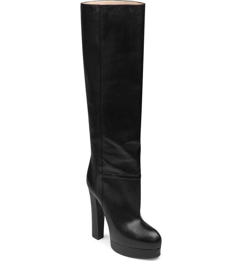 GUCCI Britney Platform Tall Boot, Main, color, BLACK