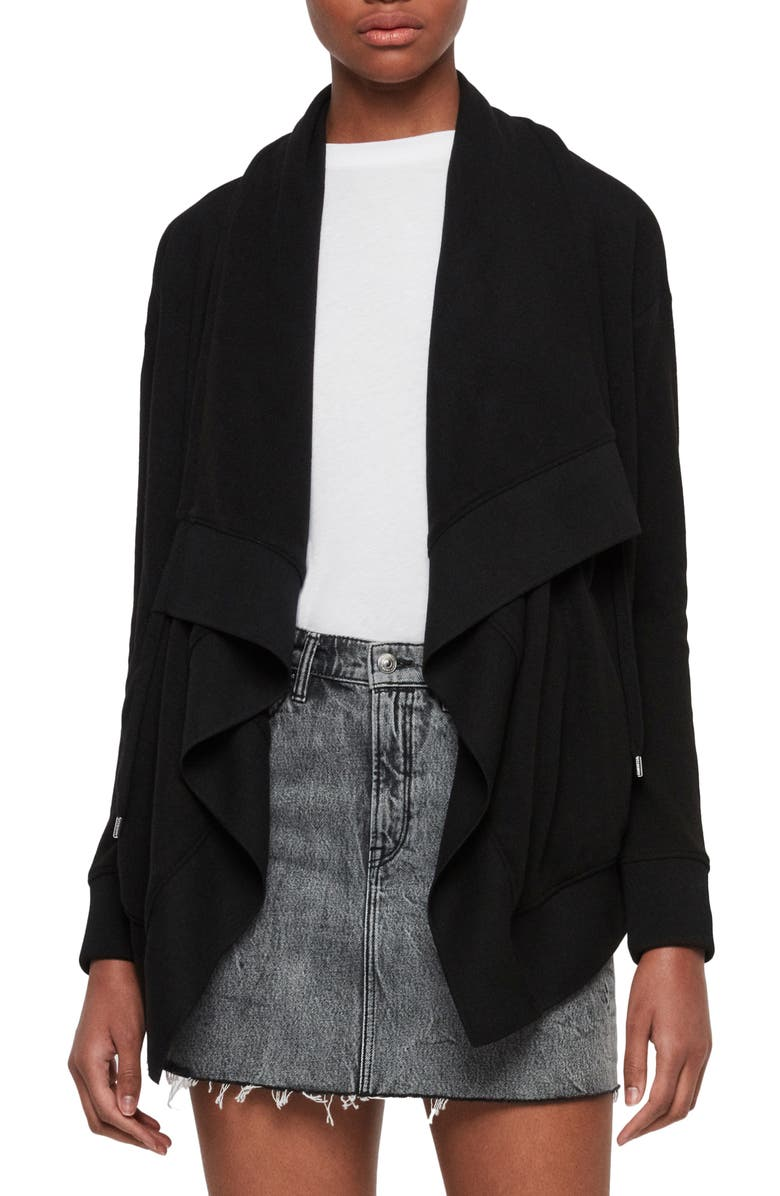 ALLSAINTS Drape Brushed Jacket, Main, color, BLACK