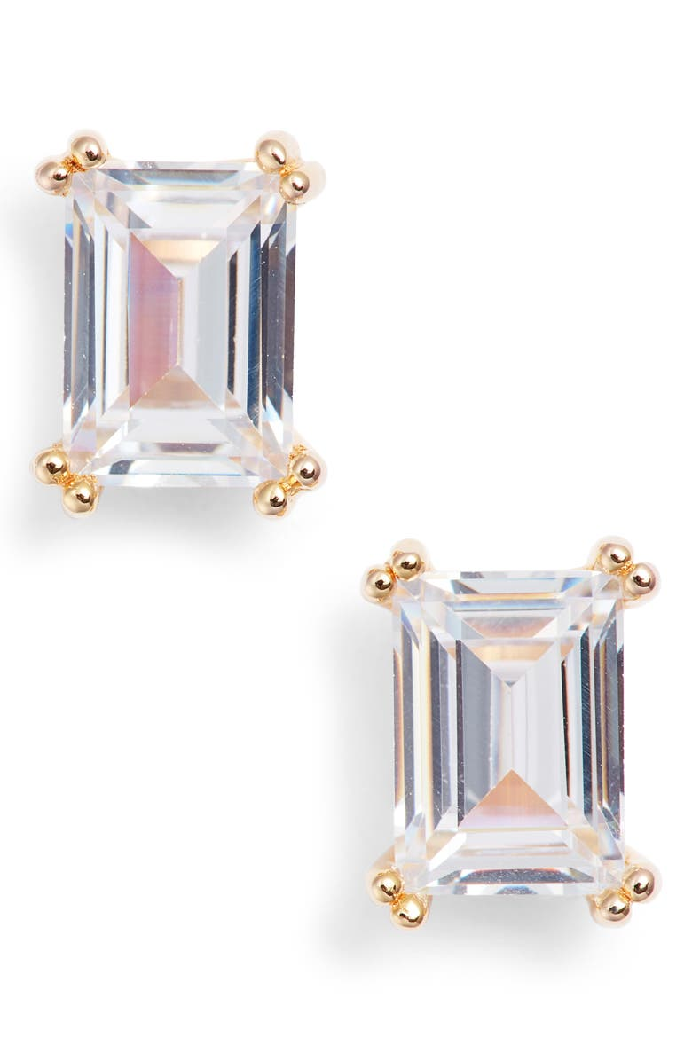 NORDSTROM Cubic Zirconia Stud Earrings, Main, color, CLEAR- GOLD
